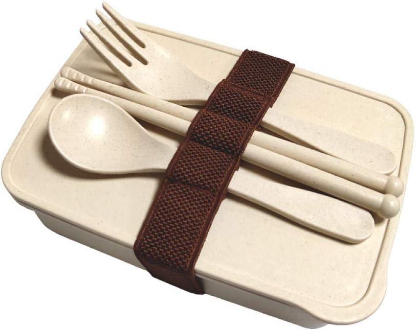 Bento Box Fiambrera de fibra de bambú Estudiante de cuello blanco Trae comida Almuerzo Bento Box-D_One_size