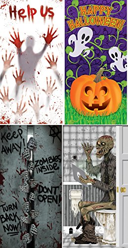 (Pack of 4) Door Covers - Help Us Pumpkin Vine Zombies Inside and Skeleton on Toilet (Comes with Free How to Live Stress Free (Halloween Vine Bats)