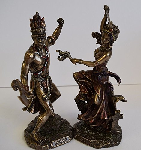 - African Gods Chango & Oya Bronze Finish Statue Set