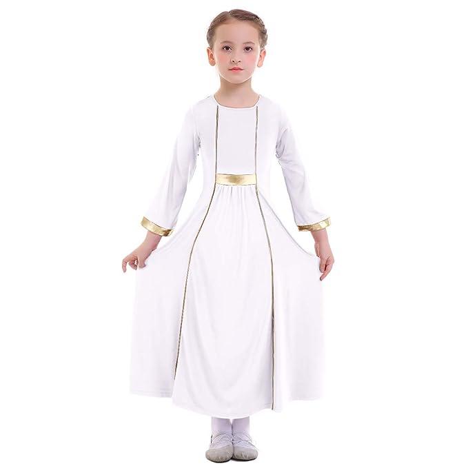 a5daf087cef8e Amazon.com: IMEKIS White Long Dress Girls Liturgical Praise Lyrical ...