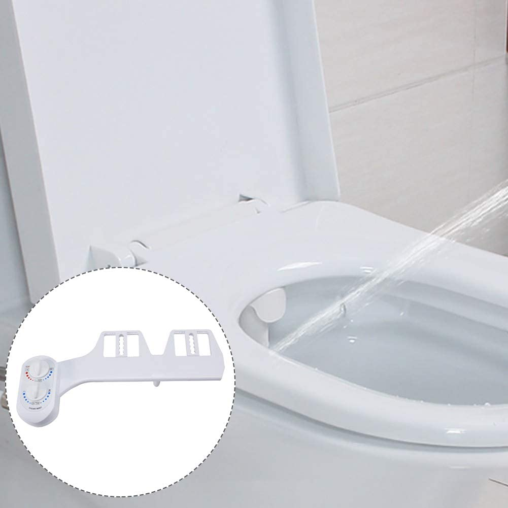 VRockefeller Non-Electric Cold Warm Water Bidet Toilet Seat with Retractable Self-Cleaning Nozzle Cleaning Water Spray