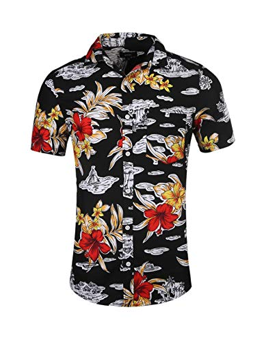 - NUTEXROL Mens Hawaiian Shirts Standard-Fit Cotton/Polyester Palm Tree Printed Beach Wear C-Black M