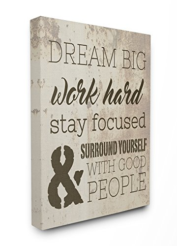 The Stupell Home Decor Collection Dream Big Work Hard Stretched Canvas Wall Art, 16 x 1.5 x 20, Proudly Made in USA