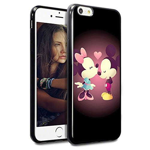 """iPhone 6s Case,Onelee [Scratchproof][Never Fade] Disney Cartoon Mickey Mouse Minnie Mouse iPhone 6S 4.7"""" Case Black Rubber(TPU) (Black 07)"""
