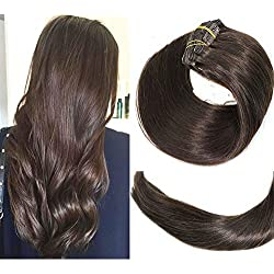 Clip In Hair Extensions Human Hair New Version Thickened Double Weft Brazilian Hair 120g 7pcs Per Set 9A Remy Hair Dark Brown Full Head Silky Straight 100% Human Hair Clip In Extensions(16 Inch #2)