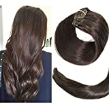 Clip In Hair Extensions Human Hair New Version Thickened Double Weft Brazilian Hair 120g 7pcs Per Set 9A Remy Hair Dark Brown Full Head Silky Straight 100% Human Hair Clip In Extensions(14 Inch #2)