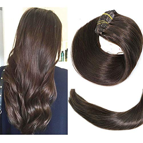 Clip In Hair Extensions Human Hair New Version Thickened Double Weft Brazilian Hair 120g 7pcs Per Set 9A Remy Hair Dark Brown Full Head Silky Straight 100% Human Hair Clip In Extensions(20 Inch #2)