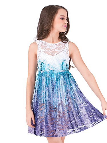 - Girls Hand Painted Lace Tank Overdress WC203CTPUML Teal/Purple ML