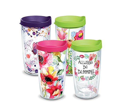 Tervis 1224488 Floral Watercolor Tumbler with Wrap and Assorted Lid 4 Pack 16oz, Clear (4 Pack 16 Oz Tumblers)