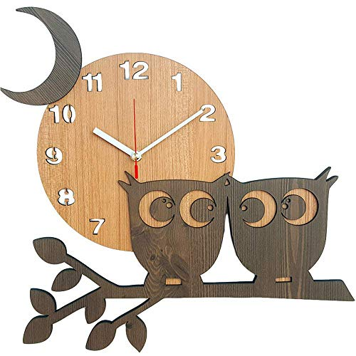 Bronzehouse Natural Wooden Wall Clock Silent Non-Ticking Quartz Movement Decorative 14 Moon Owl Clock