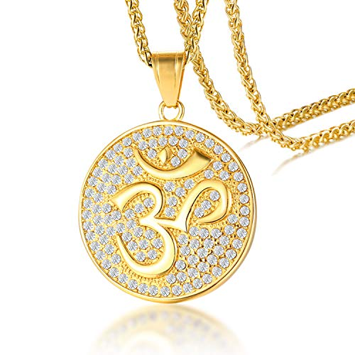 5cff30a5c0a10 Cupimatch Gold Plated CZ Om Aum Ohm Symbol Pendant Necklace Chain, Mens  Stainless Steel Buddha Yoga Round Medallion Charm Pendant Necklace Jewelry  24