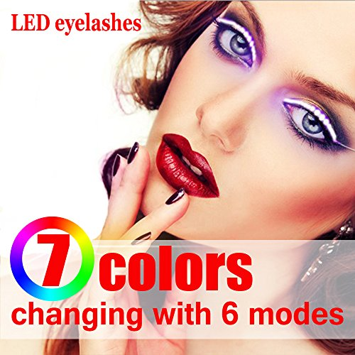 Led Lashes With 7 Color Interactive Eyelash Light  Shining Charming For Party Bar Nightclub  Concerts Birthday Halloween Christmas Ornament  Led Eyelashes Turn Your Face Into A Rave Party  7 Colors