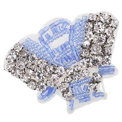 Shell Shaped Rhinestone Patches Sew On Badge Bag Appliques DIY Sewing Craft | Color - Blue ()