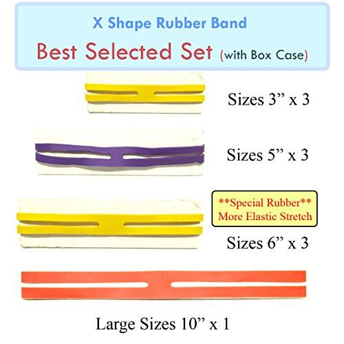 MOF X Rubber Bands X Shaped Rubber Bands H Bands 'BEST Selected Set' 10 pcs Rubber X Band in Plastic Case Easy to Use