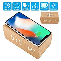 Oct17 Wooden Alarm Clock with Qi Wireless Charging Pad for iPhone Sumsang, Wood LED Digital Clock with Sound Control Function, Time Date, Temperature Display for Bedroom Office Home - Wood