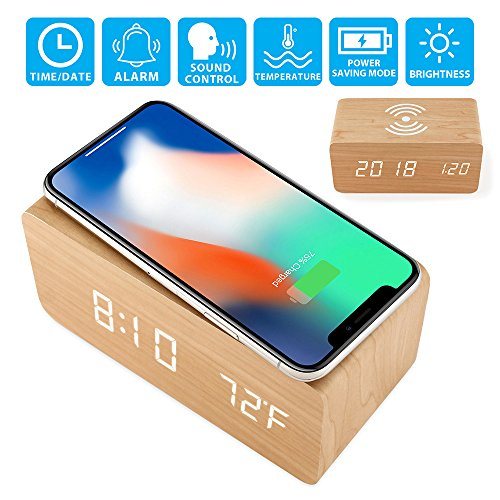 Oct17 Wooden Alarm Clock with Qi Wireless Charging Pad for iPhone Sumsang, Wood LED Digital Clock with Sound Control Function, Time Date, Temperature Display for Bedroom Office Home - (Du Wood Clock)
