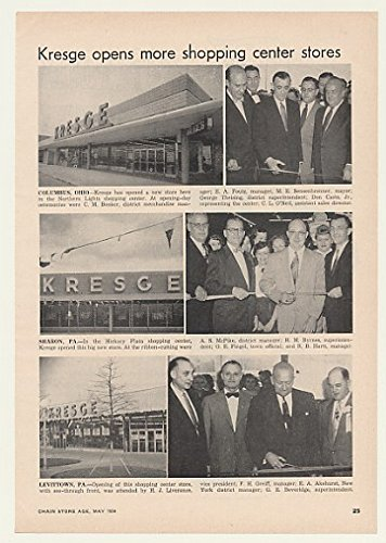 1954 Kresge Opens Shopping Center Stores Columbus OH Sharon PA Levittown PA Photo Trade Article - Columbus Shopping Center