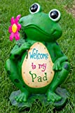 Alpine Welcome to my Pad' Frog Statuary, 18 Inch Tall For Sale