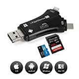 Card Reader, 4 in 1 SD Card Reader Adapter with Four Connectors, Compatible iPhone/iPad/Android/Mac/PC and Type C Device