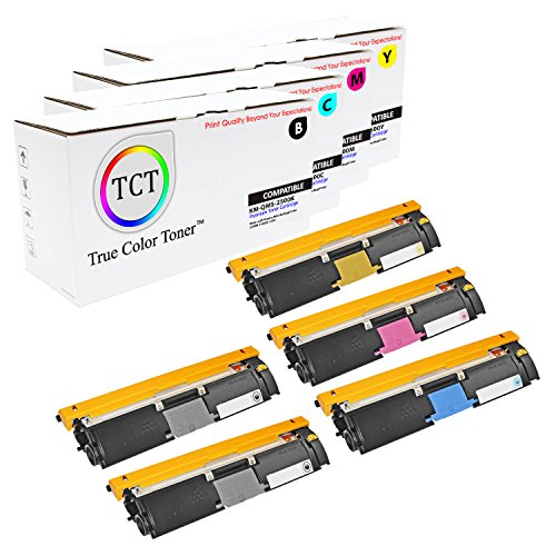 TCT Premium Compatible Toner Cartridge Replacement for QMS 2500 Konica Minolta Magicolor 2500W 2530DL 2550 Printers (Black, Cyan, Magenta, Yellow) - 5 Pack