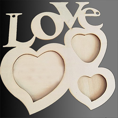 ollow Love Wooden Photo Frame DIY Picture Frame Art Decor White Base Hanging Present for Parents Mother's Day Anniversary Friends Wedding Gifts ()