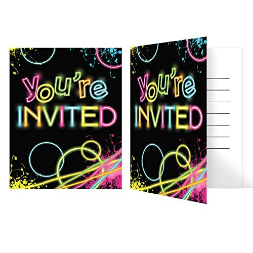 Creative Converting Glow Birthday Party Invitations, Multicolor