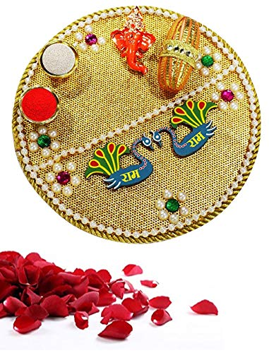 Karwa Chauth/Karva Chauth Decorative Puja Thali/Platter with Lord Ganesha and roli Rice for Hindu Temple Rituals, Mandir Temple Accessories Spiritual Gifts Karwachauth/Karvachauth