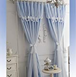 YOUSA Korean Ruffle Lace Curtains for Girls Room Fairy Window Treatments (2-Panel/52''W by 63''L/Blue)