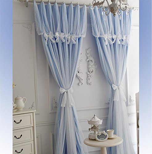 YOUSA Korean Ruffle Lace Curtains for Girls Room Fairy Window Treatments (2-Panel/52''W by 63''L/Blue) by YOUSA