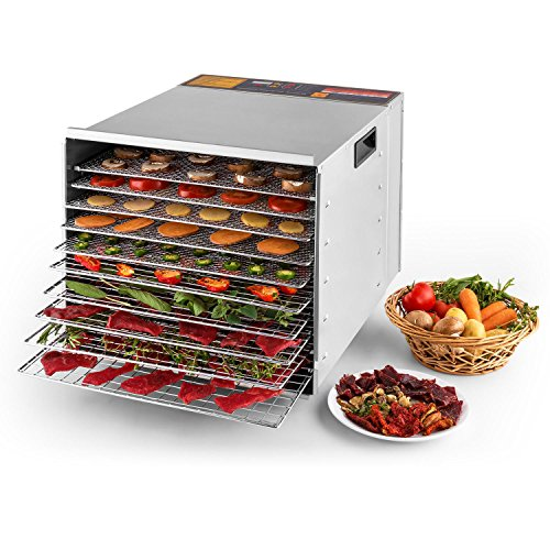Della Commercial 1200W 10-Tray Food Dehydrator Nut Durable Fruit Sausage Jerky Dryer, Stainless (10 Tray Food Dehydrator)