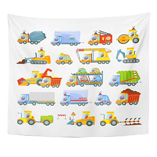 Emvency Tapestry Great of Various Transport Types Construction Equipment City Services Agricultural Machinery Cars Trucks Home Decor Wall Hanging for Living Room Bedroom Dorm 50x60 Inches