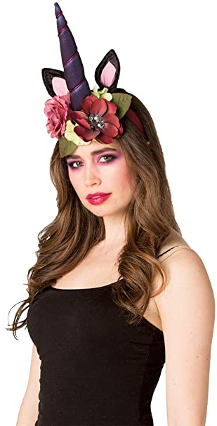 8df80cb180b Amazon.com  Rasta-Imposta Adult Dark Unicorn Headpiece Funny Theme Party  Halloween Accessory  Clothing