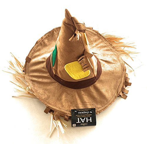 Scarecrow patchwork hat with straw