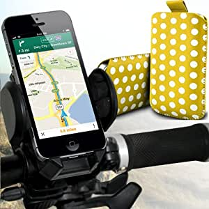 Sony Xperia S Lt26i Protección Premium Polka PU ficha de extracción Slip Cord En cubierta de bolsa Pocket Skin rápida Con universal de bicicletas Bike Mount Holder Soporte horquilla del soporte del manillar de soporte 360 ??grados de rotación amarillo y blanco por Spyrox