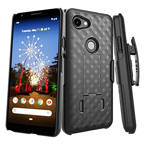 (Google Pixel 3a Case, Oleaders Full Body Belt Clip Holster Shockproof with Kickstand Back Cover Thin Protective Case for Google Pixel 3a - Black )