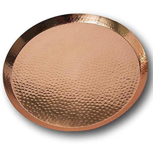 Large Contemporary Hammered Edge Pure Copper Circular Serving Party Tray - By Alchemade - 15 Inch Round Charger Platter Serving -