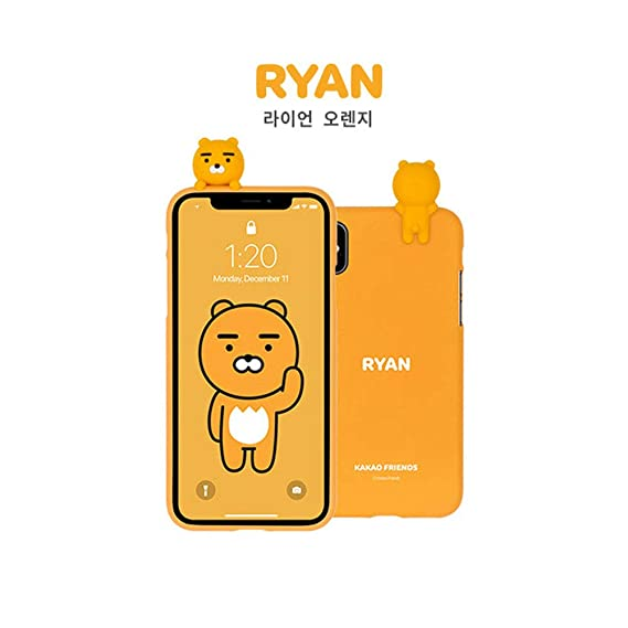 sports shoes 88159 7b043 KAKAO FRIENDS Cellphone Case Art Jelly Character Figure Case for iPhone Xs  MAX, XR (Ryan_Orange, iPhone Xs MAX)