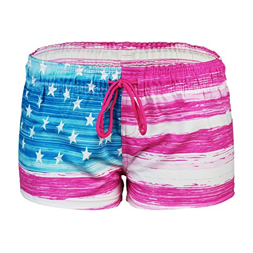 VBRANDED Women's American Flag Inspired Board Shorts Large Pink ()