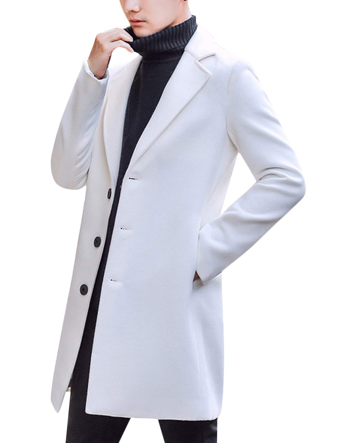 Springrain Men's Notched Lapel Single Breasted Long Pea Coat Trench Coat (White, Large) by Springrain