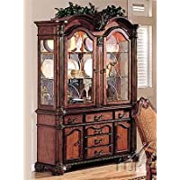 Acme Furniture Chateau De Ville Collection 04079 62 China Cabinet with 4 Doors 6 Drawers 2 Glass Shelves Decorative Carvings and Metal Hardware in Cherry