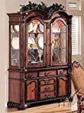 Acme Furniture Chateau De Ville Collection 04079 62'' China Cabinet with 4 Doors 6 Drawers 2 Glass Shelves Decorative Carvings and Metal Hardware in Cherry