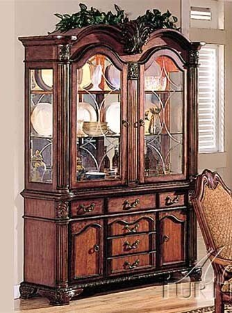 Acme Furniture Chateau De Ville Collection 04079 62″ China Cabinet with 4 Doors 6 Drawers 2 Glass Shelves Decorative Carvings and Metal Hardware in Cherry