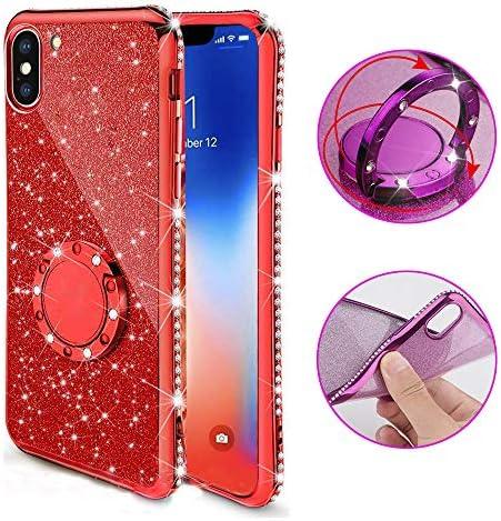 iPhone 7ケースダイヤモンド、iPhone 8 4.7インチケース、SevenPandaクリスタルケース保護ケースiPhone 7/8 用クリアケース超薄型TPUシリコンゲルカバー携帯電話ケースクリアダイヤモンドブリッターキラキラ透明な花梅の花柄のパターン携帯電話ケース光沢パターンソフトクリスタルカバー携帯電話保護 バッグシェルバンパー - 赤