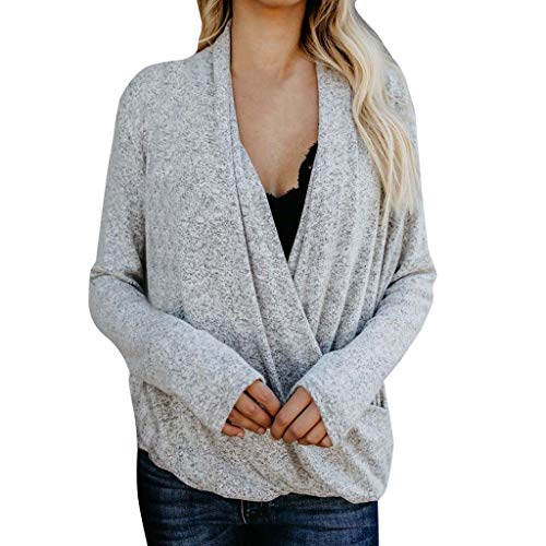 Blouses for Womens,DaySeventh Fashion Women V-Neck Cross Long Sleeve Knitted Pullover Loose Tops Blouse ()