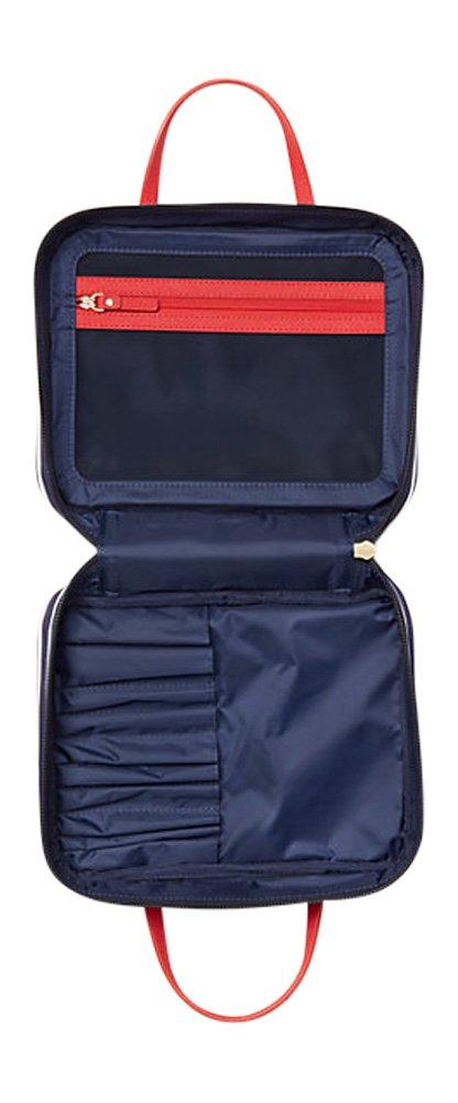 08a53387a4d Amazon.com  Kate Spade New York Classic Nylon Minna Sapphire Cream Travel  Cosmetic Makeup Case  Beauty