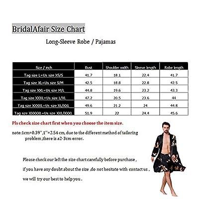 BridalAffair Mens Satin Robe Silk Long Sleeve House Kimono Bathrobe Sleepwear Loungewear