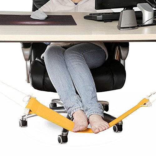 Foot hammock by Basic support - yellow - Ergonomic adjustable feet rest for a comfortable utility foot stool under your office desk that you can fold-a-way