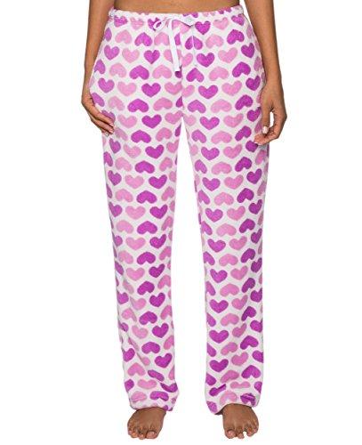 Women's Coral Fleece Plush Lounge Pants - Sweethearts - White/Purple - XL
