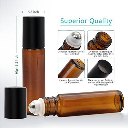 24, 10ml Roller Bottles for Essential Oils - Amber, Glass with Stainless Steel Roller Balls by Mavogel (3 Extra Roller Balls, 54 Pieces Labels, Opener, Funnel, Dropper, Brush Included) by Mavogel (Image #3)