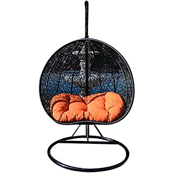 Egg Nest Shaped Wicker Rattan Swing Chair Hanging Hammock 2 Persons Seater    Black / Orange